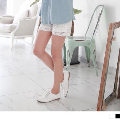 0608新品 素色蕾絲圖騰造型腰圍鬆緊短褲.2色