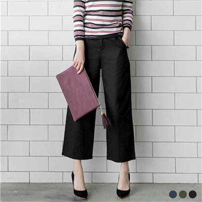 質感素色西裝面料打摺八分寬褲.3色