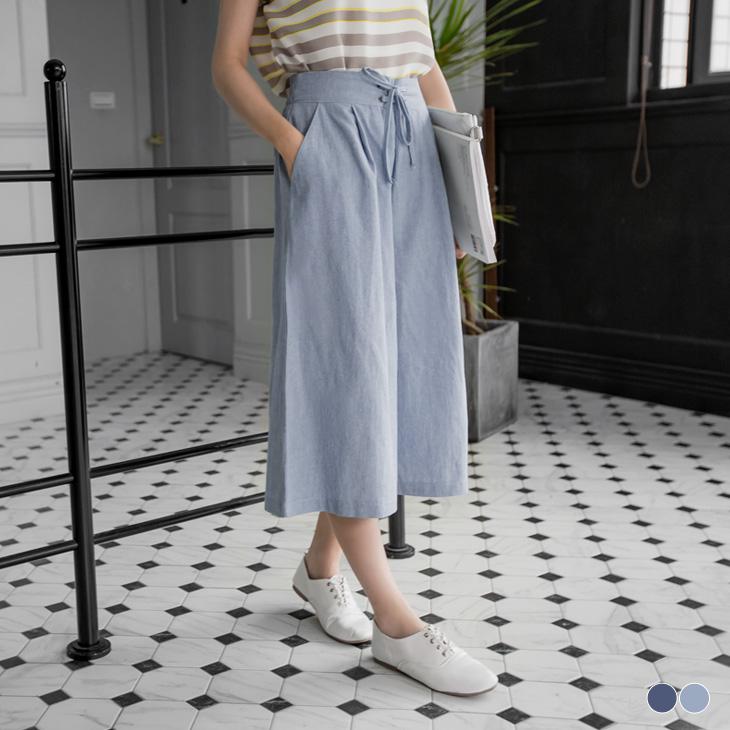 0406新品 純色綁帶ob超級商城腰頭設計打摺七分寬褲.2色