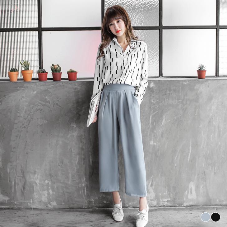 0401新品  純色質感打摺設計九ob 退 款分寬褲.2色
