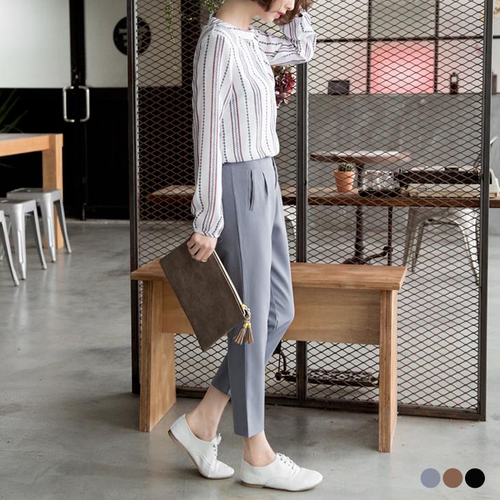 0422新品 素色簡約ob洋裝腰鬆緊打褶哈倫褲.3色
