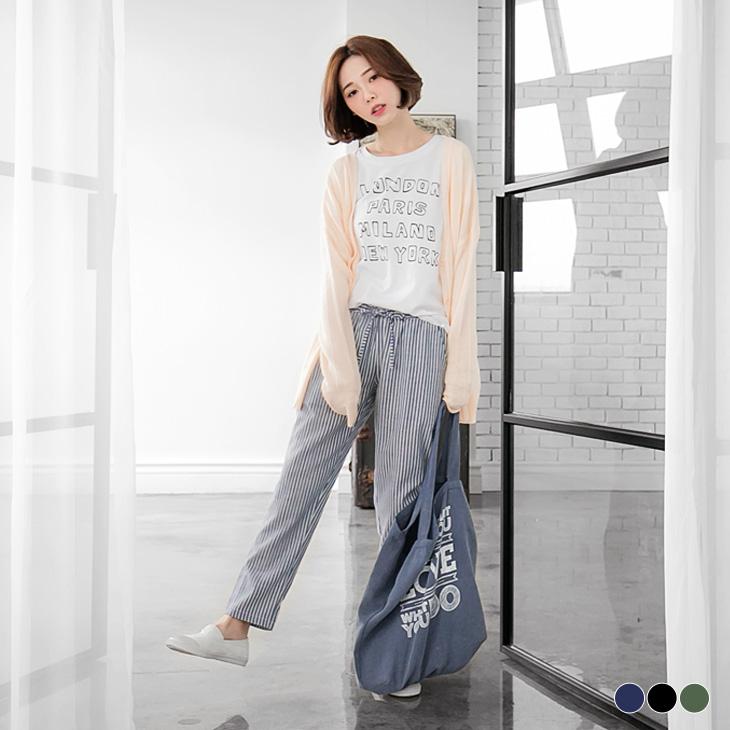 混ob嚴選羽絨外套紡直條紋腰鬆緊綁帶寬版長褲.3色