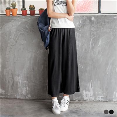 0627新品 素色立體坑條直紋腰圍鬆緊寬版褲.2色