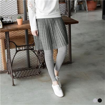 0226新品 假兩件式蕾絲裙腰鬆緊彈性內搭褲.2色