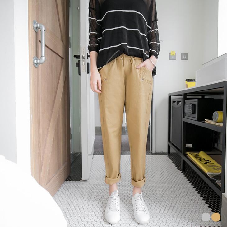 0401新品 素色假口袋造ob嚴選心得型腰圍鬆緊哈倫褲.2色