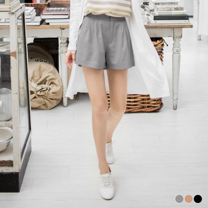 0420新品 ob客服純色雪紡紗面料打摺設計短褲.3色