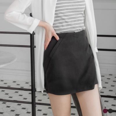 素色毛絨假口袋包臀褲裙.2色