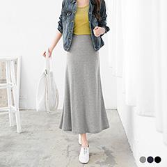 0412新品 素色彈性面料腰圍鬆緊A字長裙.3色