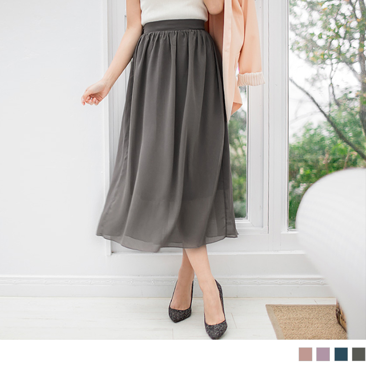 0523新品 素色雪紡飄逸ob 迪士尼感腰鬆緊百褶長裙.3色