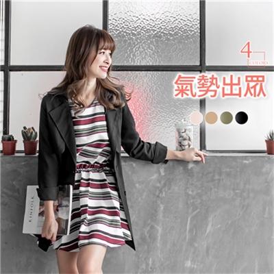經典雙排釦綁帶風衣長版外套.4色