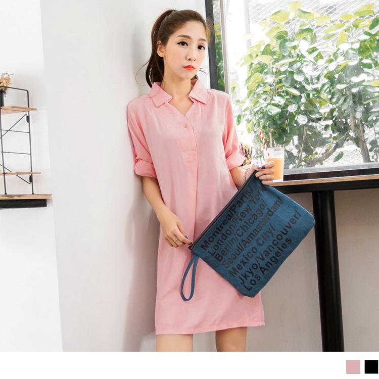 0516新品 附綁帶純色開襟設計七分袖洋裝.ob嚴選評價2色