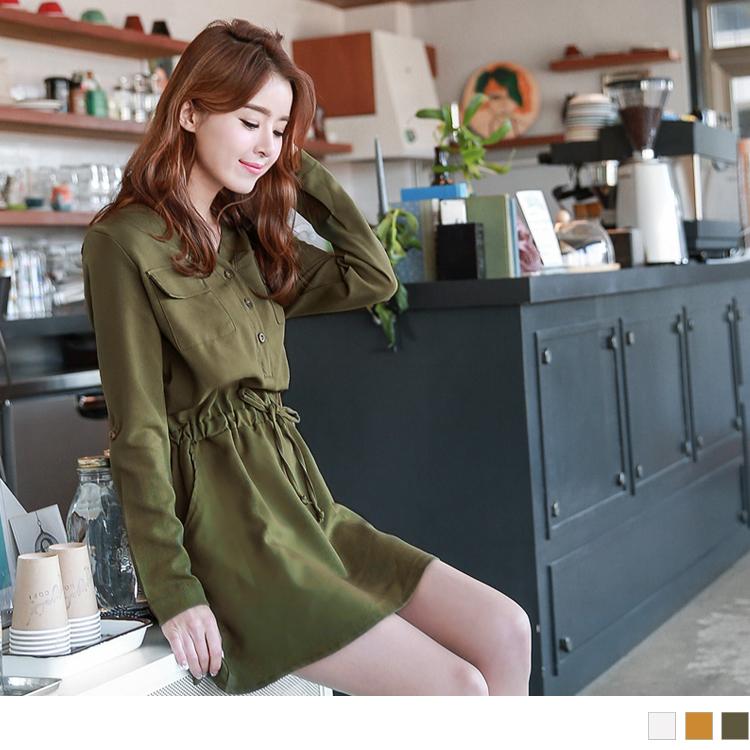 0428新品 素色雙口袋開襟寬鬆V領綁帶洋裝.3色