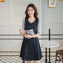 0412新品 英倫格紋百褶裙背心洋裝.2色