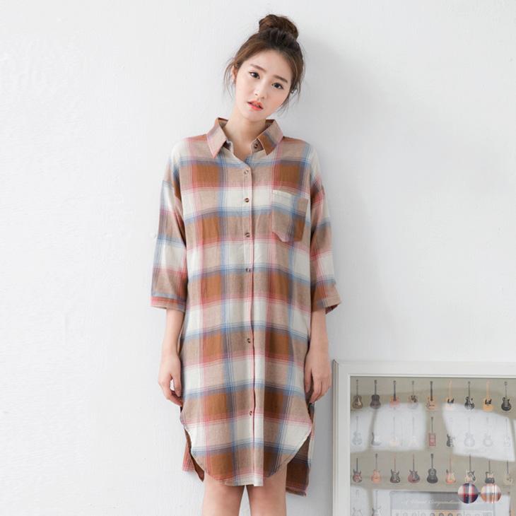 格ob 門市紋單口袋長版寬鬆七分袖襯衫洋裝/外套.2色