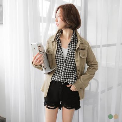 不收邊設計質感彈性布襯衫/外套.2色