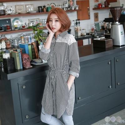 0525新品 蕾絲拼接直條紋綁帶長版襯衫/洋裝.3色