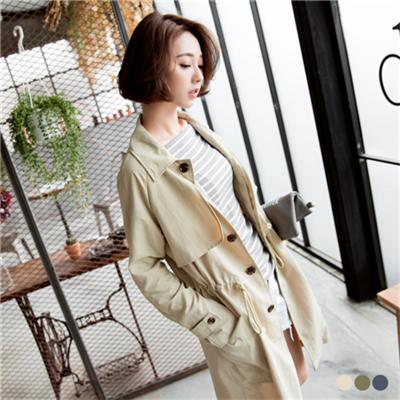 素色率性立領/翻領長版風衣外套.3色