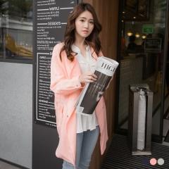 0411新品 腰綁帶側拉鍊造型翻領寬鬆風衣外套.3色
