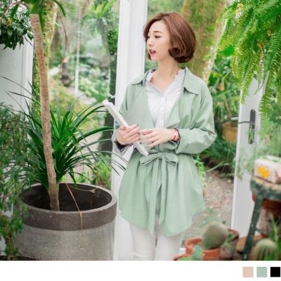 0324新品 素色襯衫翻領附綁帶開襟風衣外套.3色