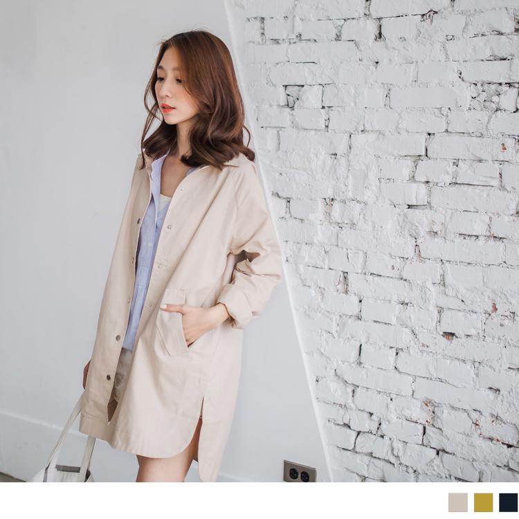 0321新品 素色斜紋質感前短後長騎士外套.3色