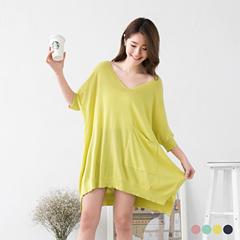 0412新品 純色棉紗飛鼠袖設計前短後長上衣.4色
