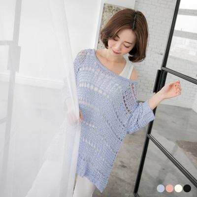 0218新品 素色鏤空细針織落肩飛鼠袖上衣.4色