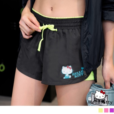 0316新品 KITTY運動系列~撞色透氣彈性內裡運動短褲.3色