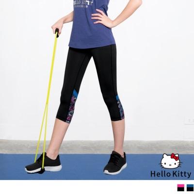 0628新品 KITTY運動系列~褲腳印花彈力透氣七分運動褲.3色