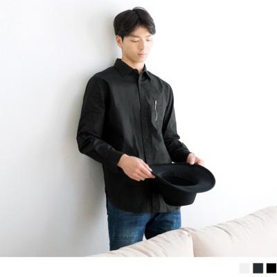 0603新品 網眼補丁設計拉鏈長袖襯衫•男3色
