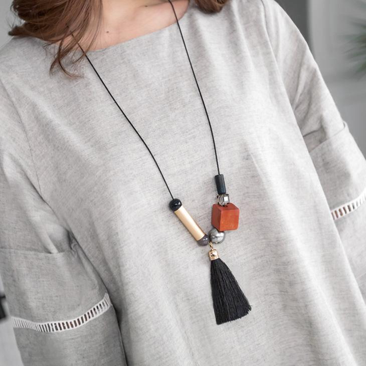 0219新品 層次珍珠立方體木飾流蘇項鍊