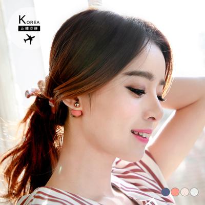 0217新品 【特價款】 雙色金屬雙球耳環.4色