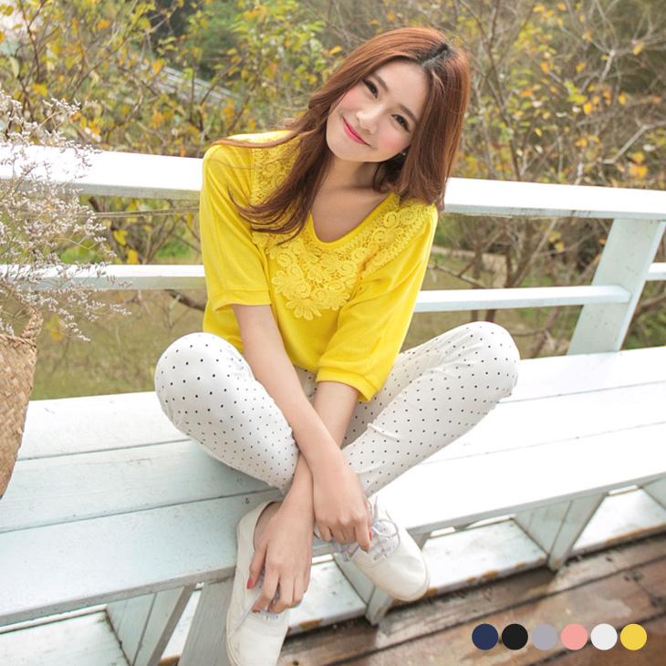 0603新ob嚴選實體店面在哪品 綺麗格調~素色佈蕾絲裝飾連袖上衣.6色