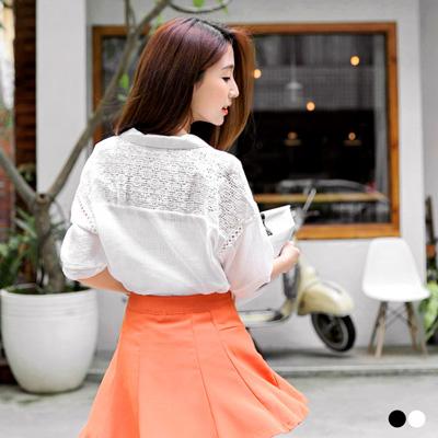 0223新品 純色拼接布蕾絲七分袖前短後長上衣.2色
