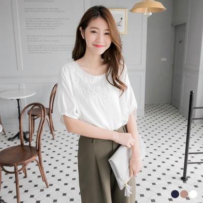 0303新品 素色前蕾絲造型五分縮口袖寬鬆上衣.3色