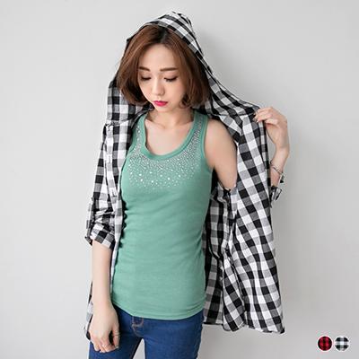 0623新品 經典格紋寬鬆長版連帽襯衫.2色