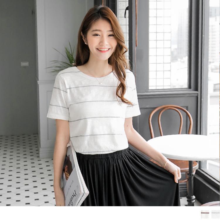 0427新品 竹節棉簡ob服飾評價約橫條紋圓領上衣.2色