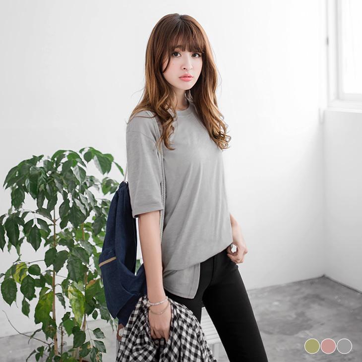 0309新品 竹節棉素色反褶袖造型長版上衣.3色