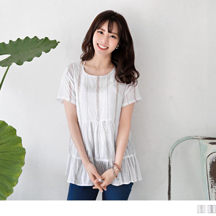 0426新品 滿版樹葉印花寬版設計上衣.2色