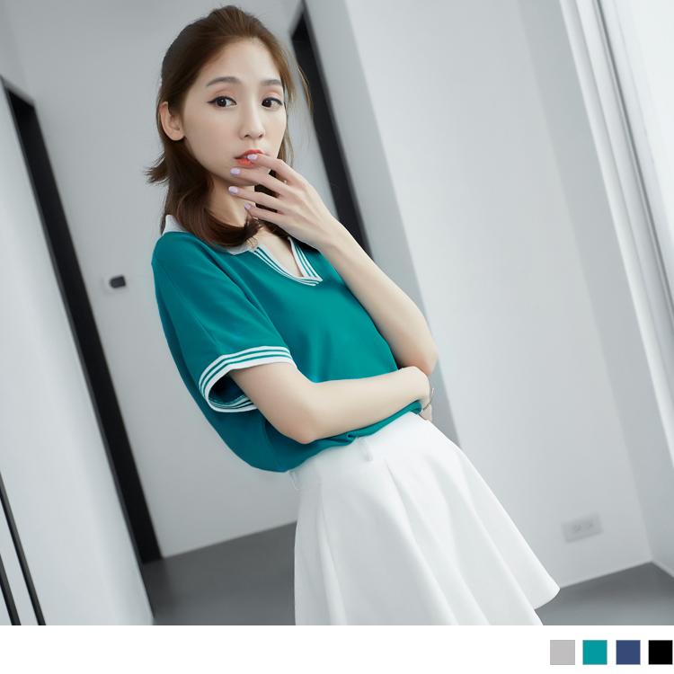 0429新品ob窄管褲 素色條紋滾邊V領POLO衫休閒上衣.4色