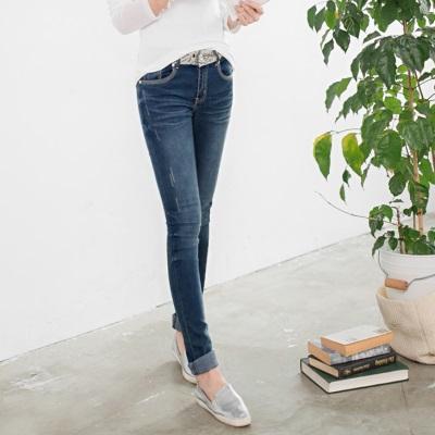 0302新品 美腿佳人~嚴選韓版蕾絲水洗刷紋彈性直筒牛仔褲