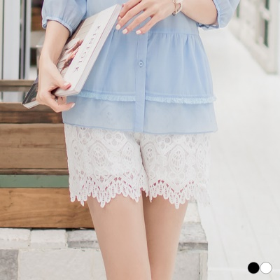 0304新品 素色蕾絲滿版造型腰圍鬆緊短褲.2色