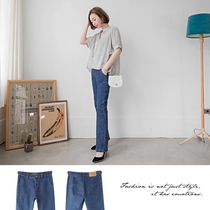 0406新品 牛仔腰金屬釦環造型寬版小喇叭褲