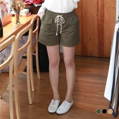 【精選系列?任選7折】素色綁帶造型腰圍鬆緊斜紋短褲.3色