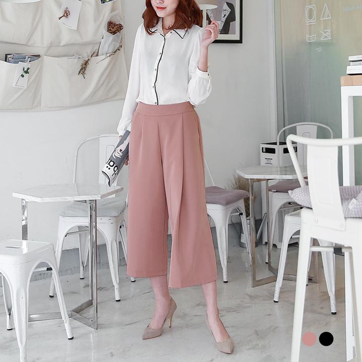 0415新品 質感素色打摺設計七分寬褲.2色