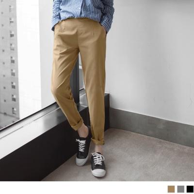 0330新品 素色腰鬆緊打褶休閒西裝哈倫褲.3色
