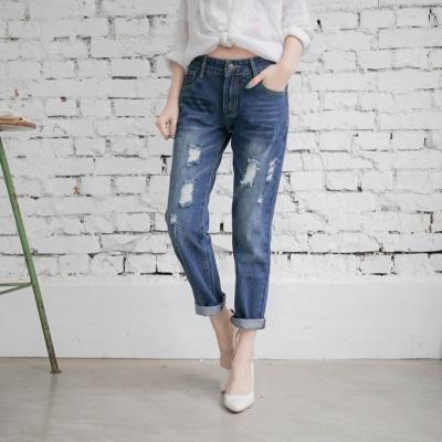 0624新品 刷色破損感造型牛仔直筒褲