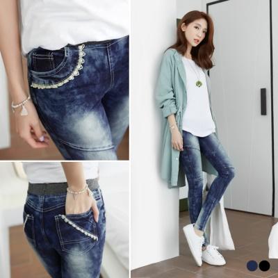 0401新品玩美視覺~嚴選韓版蕾絲口袋雪花窄管褲‧2色
