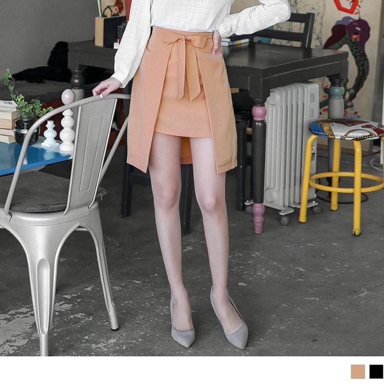 0415新品 素色斜紋蝴蝶obdesign tw結點綴前短後長A字裙.2色