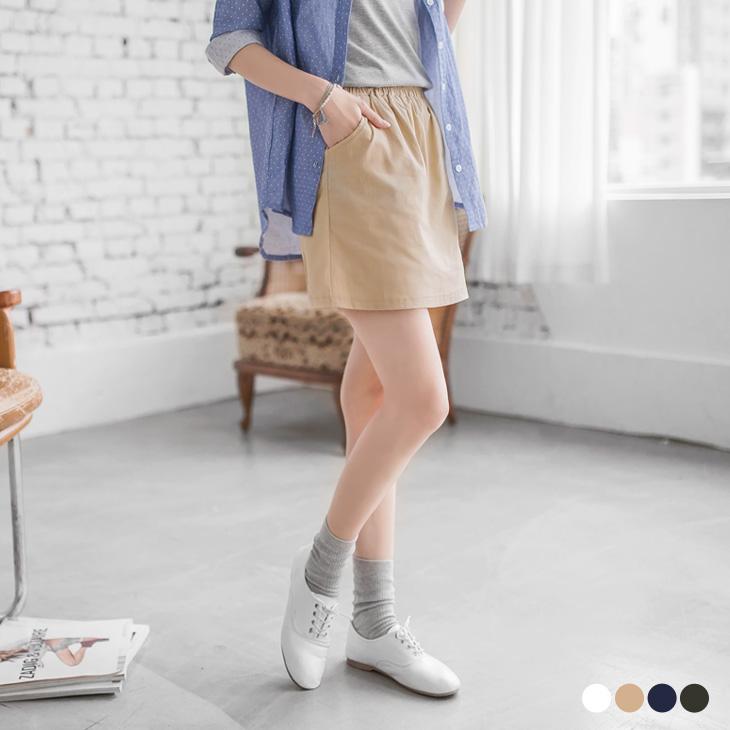 0418新品 純色水性彈性鬆緊A字短裙.4色