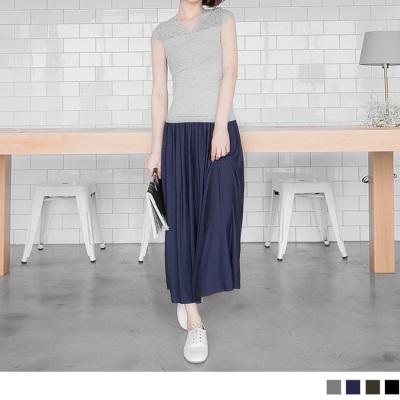 0314新品 素色親膚柔軟鬆緊長裙.4色